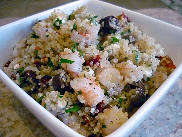 Shrimp and Feta Quinoa - This Gal Cooks #salads #easyrecipes #healthy