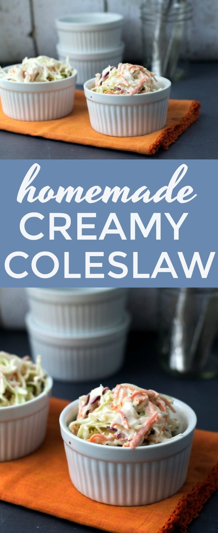 Homemade Creamy Coleslaw. This BOLD flavorful #coleslaw is my favorite #sidedish for #bbq dinners!