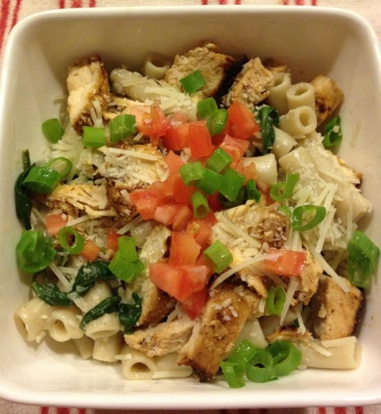 Creamy Spinach, Mushroom and Chicken Pasta from www.thisgalcooks.com