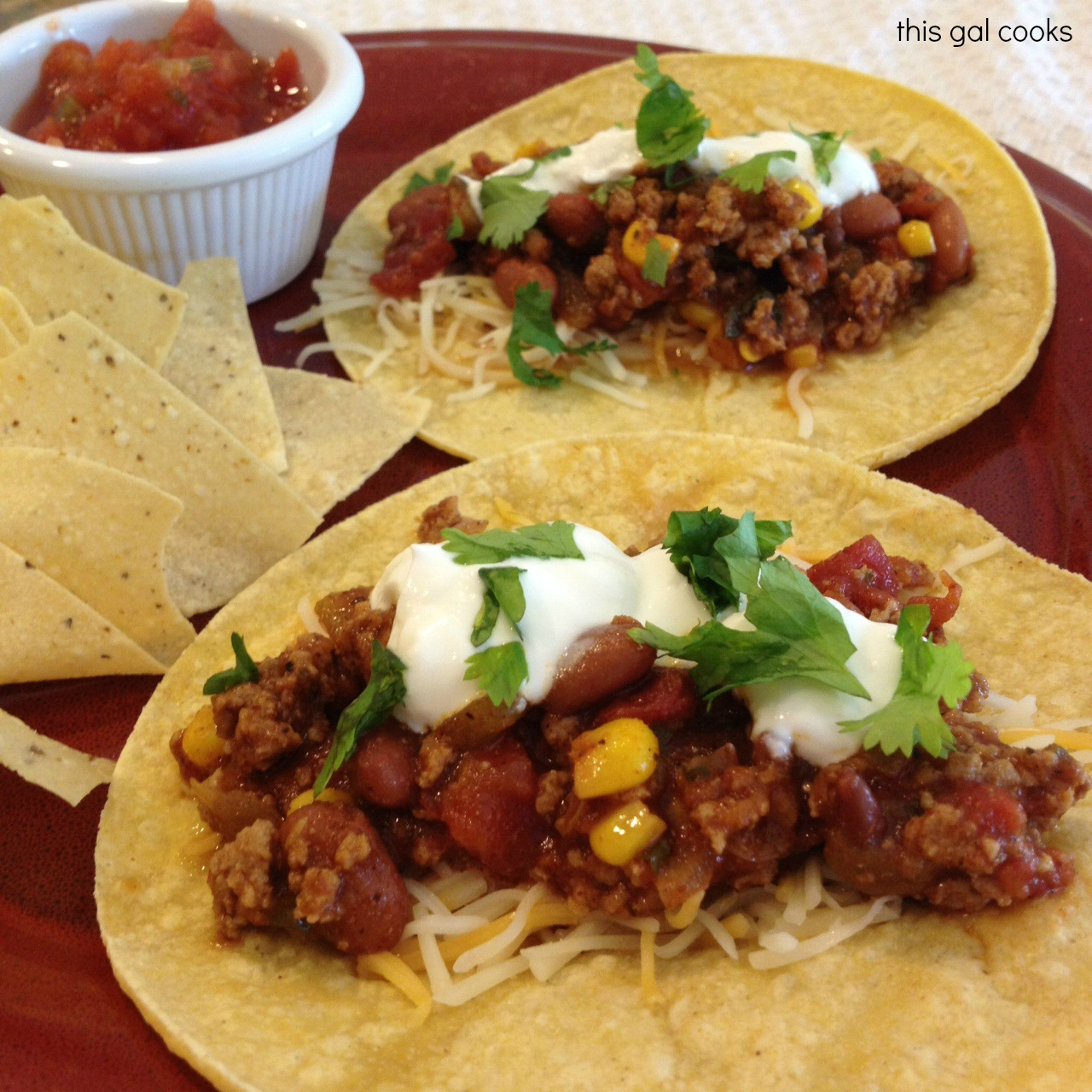 Chili Cheese Tacos | This Gal Cooks