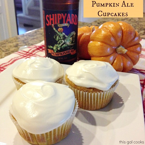 Pumpkin Ale Cupcakes from www.thisgalcooks.com