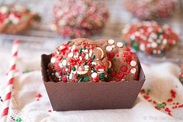 These melt in your mouth Nutella White Chocolate Chip Cookies are perfect for Christmas. Just dress them up with sprinkles like I did!