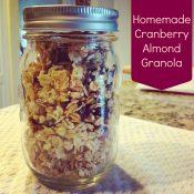 Homemade Cranberry Almond Granola