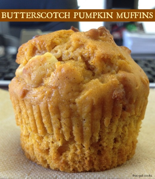 Butterscotch Pumpkin Muffins from www.thisgalcooks.com