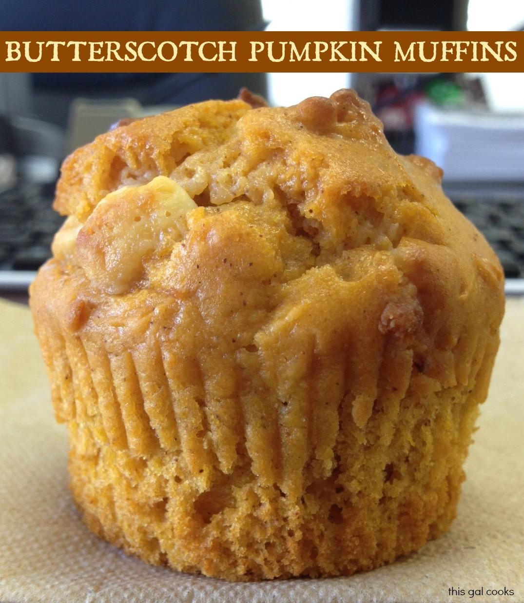 Butterscotch Pumpkin Muffins | This Gal Cooks