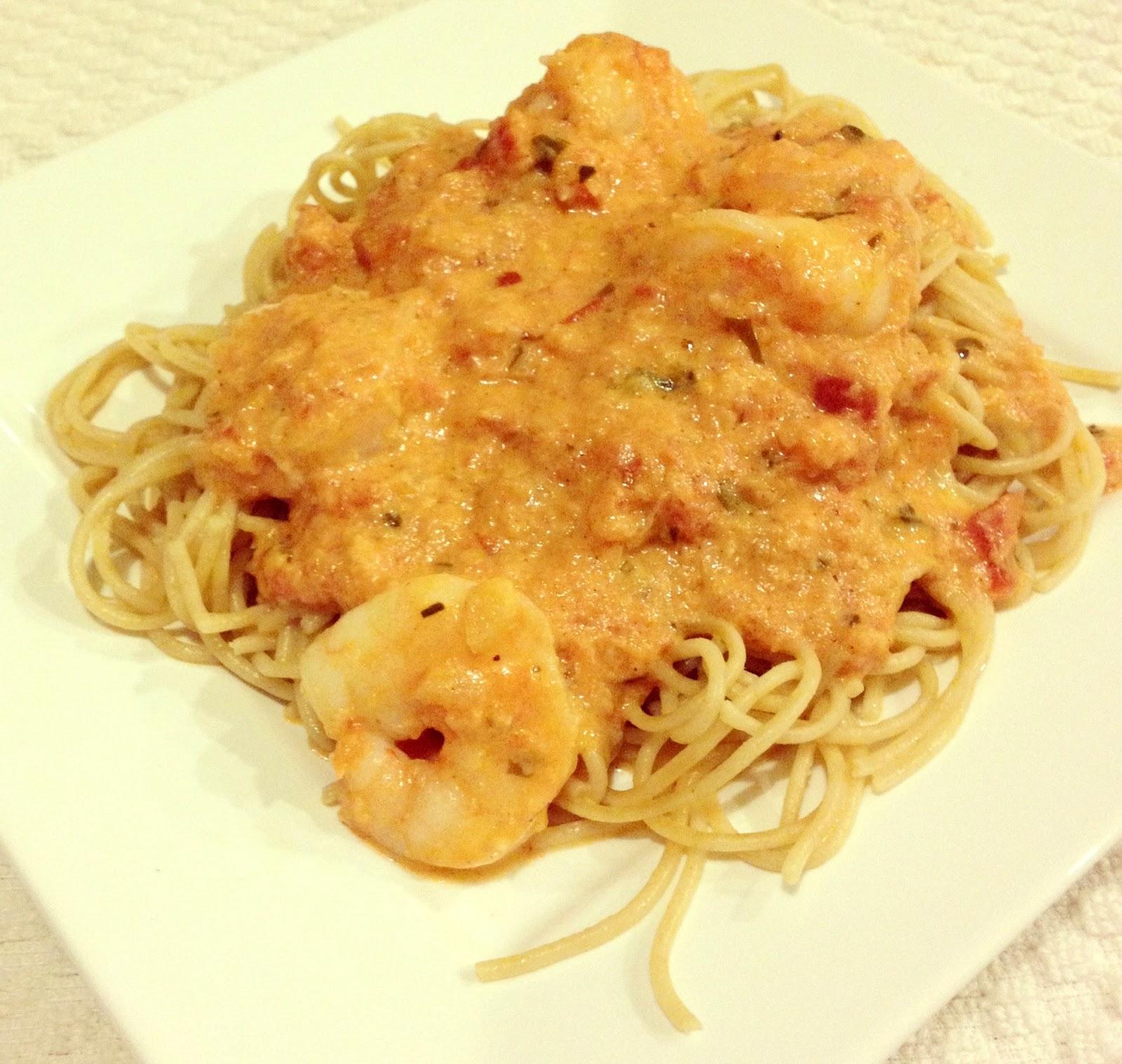 Shrimp Pasta with Spicy Tomato Cream Sauce | This Gal Cooks