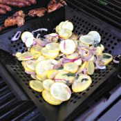Grilled Squash with Basil and Onion