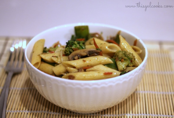 Stir Fry Vegetables with Penne - This Gal Cooks wm