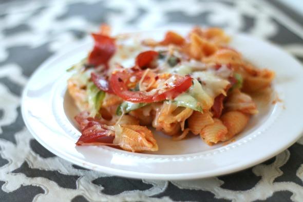 Cheesy Pizza Pasta Casserole - www.thisgalcooks.com
