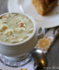 Lightened Up Clam Chowder - This Gal Cooks #soup #chowder #seafood