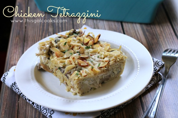 Chicken Tetrazzini from www.thisgalcooks.com #pasta #chicken #mushrooms wm3