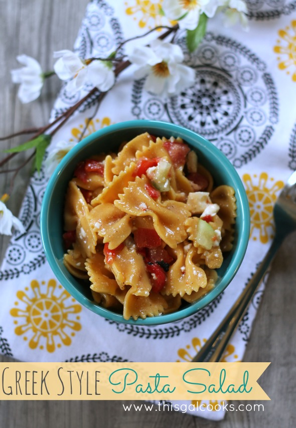 Greek Style Pasta Salad - This Gal Cooks