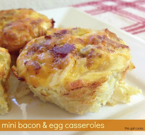 These Mini Bacon and Egg Casseroles are made with fresh shredded potatoes, eggs, bacon and cheese. Make ahead for a quick and easy breakfast!