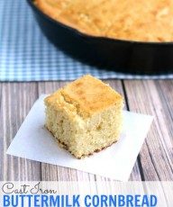 Cast Iron Buttermilk Cornbread from www.thisgalcooks.com #cornbread #castironskillet wm
