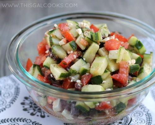 Greek Cucumber & Tomato Salad from www.thisgalcooks.com 2WM