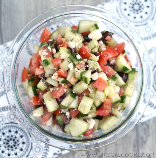 Greek Cucumber & Tomato Salad from www.thisgalcooks.com 3WM