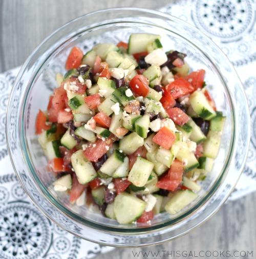 Greek Cucumber & Tomato Salad from www.thisgalcooks.com 3WM