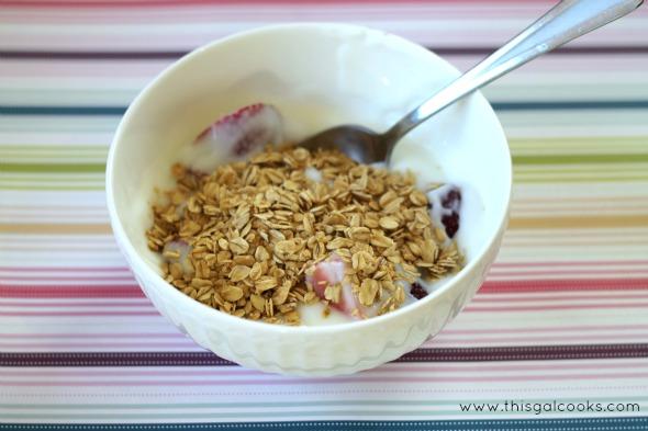 Healthy Fresh Fruit Yogurt Parfait from www.thisgalcooks.com #lowfat #freshfruit