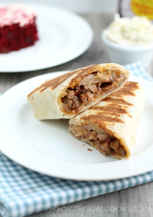 Hot BBQ Pork Ranch Wraps from www.thisgalcooks.com #bbqrecipes #wraps WM