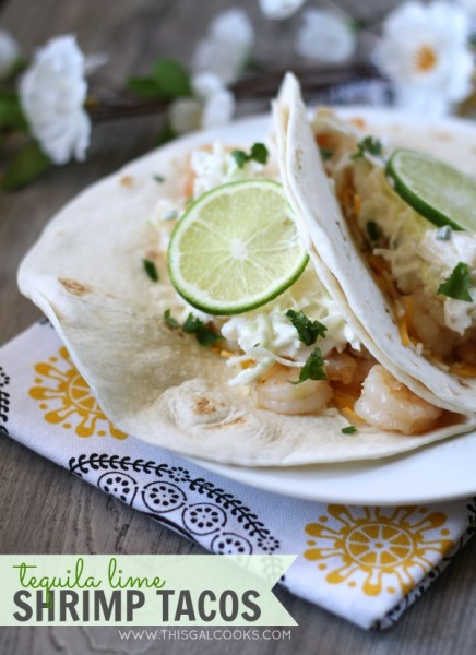 Tequila Lime Shrimp Tacos from www.thisgalcooks.com #shrimp #tequila #tacos 2WM