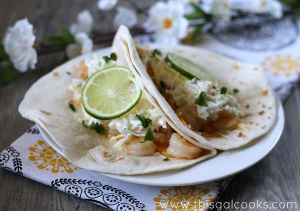 Tequila Lime Shrimp Tacos from www.thisgalcooks.com #shrimp #tequila #tacos wm
