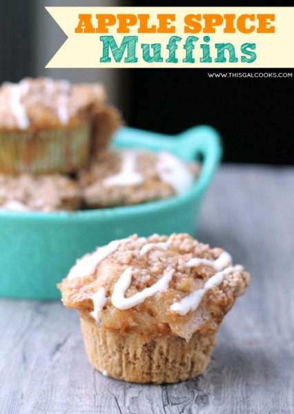Apple Spice Muffins from www.thisgalcooks.com #muffins #breakfast 2WM