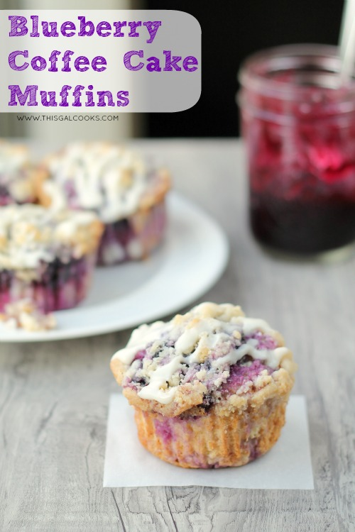 Blueberry Coffee Cake Muffins from www.thisgalcooks.com #blueberries #muffins wm