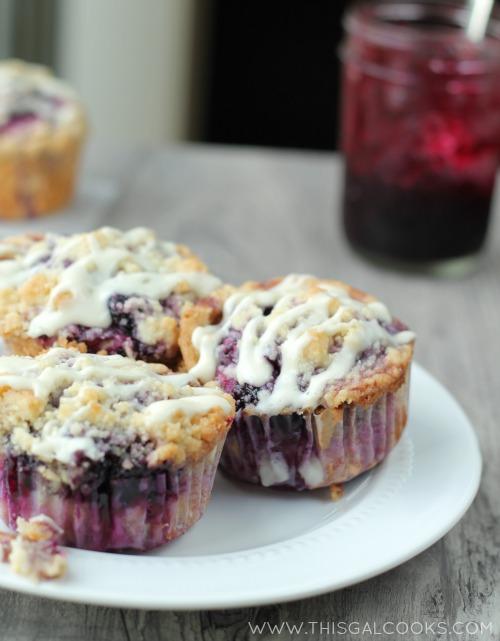 Blueberry Coffee Cake Muffins from www.thisgalcooks.com #blueberrymuffins #coffeecake WM