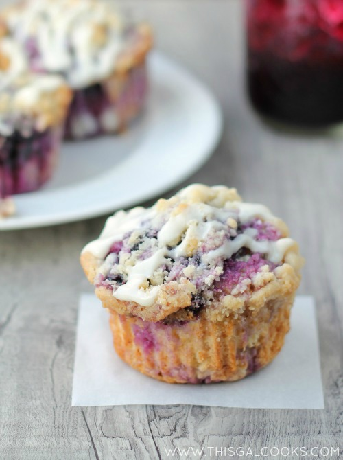 Blueberry Coffee Cake Muffins from www.thisgalcooks.com #muffins #blueberries WM