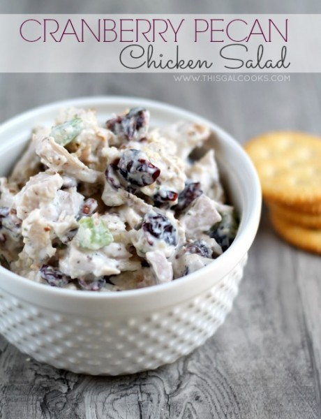 Cranberry Pecan Chicken Salad from www.thisgalcooks.com #chickensalad #pecans #cranberries 3wm