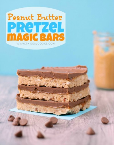 Peanut Butter Pretzel Magic Bars from www.thisgalcooks.com #peanutbutter #pretzelrecipes #bars 4WM
