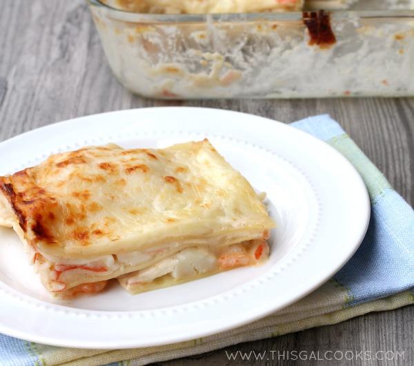 Seafood Lasagna from www.thisgalcooks.com #seafoodrecipes #lasagna 2WM