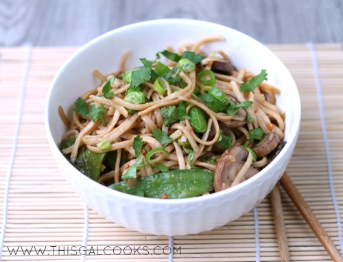 Vegetable Stir Fry Lo Mein from www.thisgalcooks.com #lomein #vegetarian WM