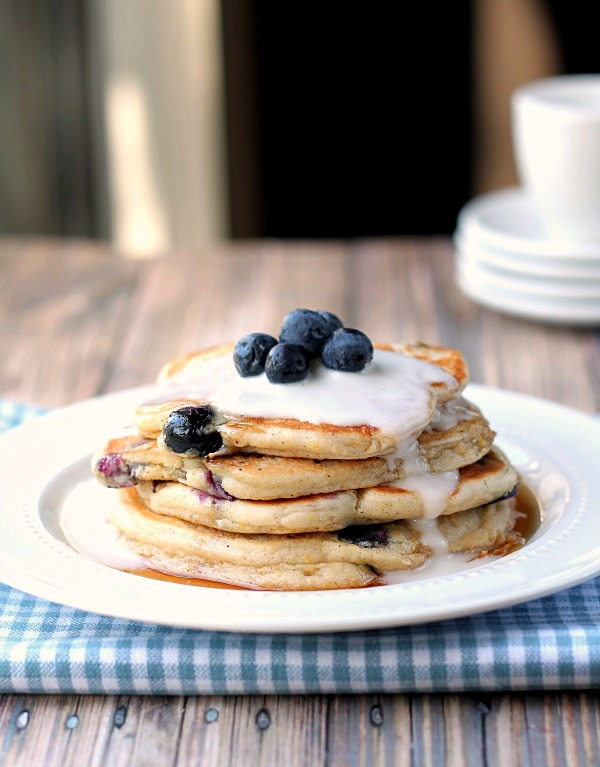 Blueberry Coconut Pancakes. These delicious pancakes use coconut milk rather than dairy milk. Don't you just want to bite into them? From This Gal Cooks