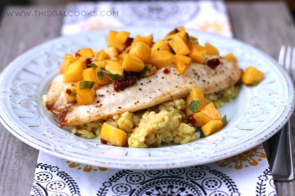 Broiled Tilapia with Chipotle Peach Salsa from www.thisgalcooks.com 2WM