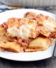 Easy Chipotle Ravioli Bake. Frozen cheese filled ravioli is tossed in a spicy chipotle tomato sauce, topped with cheese and baked to perfection! From www.thisgalcooks.comfEATURE