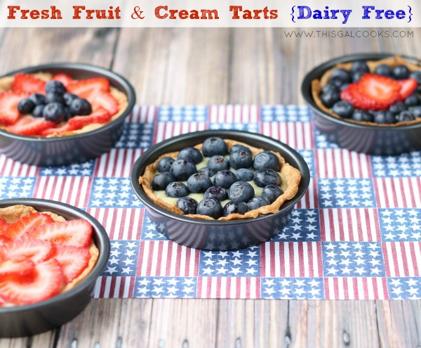 Fresh Fruit and Cream Tarts {Dairy Free} from www.thisgalcooks.com #tarts #dairyfree 5WM