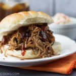 Slow Cooker BBQ Beef. Cooked in a slow cooker, this hassle free meal takes only minimal preparation! From www.thisgalcooks.com #bbqbeef #slowcooker