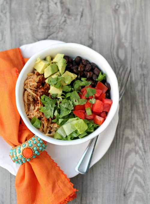 Crockpot Chicken Enchilada Rice Bowls