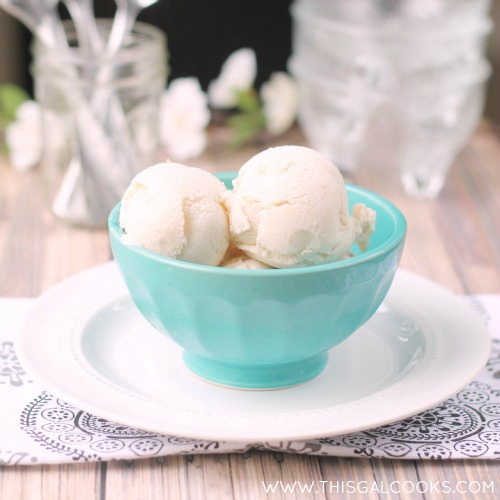 Vanilla Peach Ice Cream {Dairy Free} from www.thisgalcooks WM2