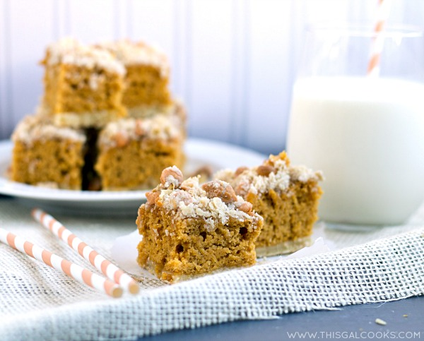 Pumpkin Cookie Bars with Butterscotch Chip Streusel from www.thisgalcooks.com