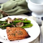 Teriyaki Salmon with Sesame Asparagus. Healthy and super simple to make! From www.thisgalcooks.com