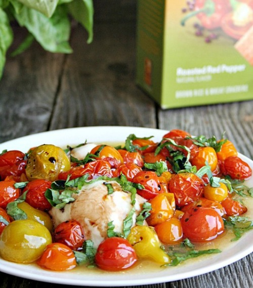 Grilled Fresh Mozzarella with Roasted Tomatoes and Basil by Heather's French Press