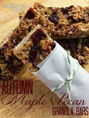 Autumn Maple Pecan Granola Bars from Juggling Act Mama