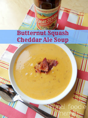 Butternut Squash Cheddar Ale Soup by Frugal Foodie Mama
