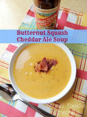 Butternut Squash Cheddar Ale Soup by Frugal Foodie Mama