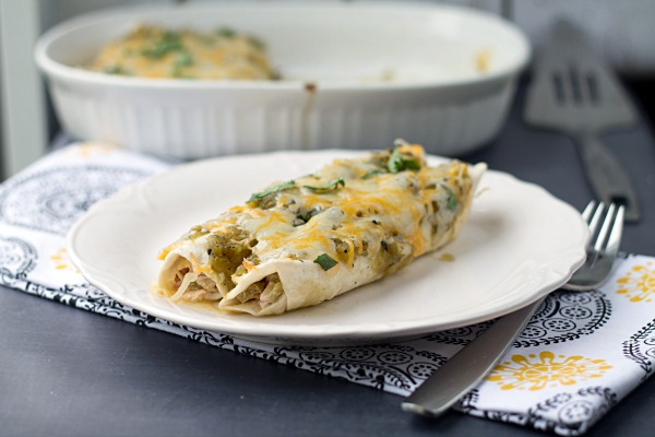 Green Sauce Chicken Enchiladas from www.thisgalcooks.com #enchiladas #greensauce #easymeals
