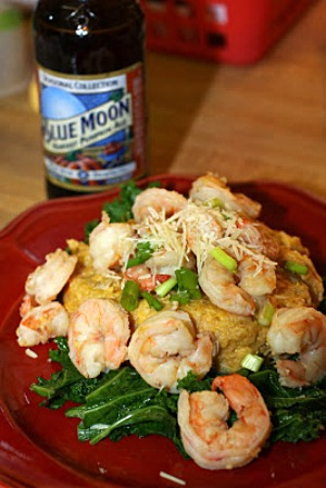 Fall Beer Poached Shrimp & Loaded Pumpkin Grits by For the Love of Food
