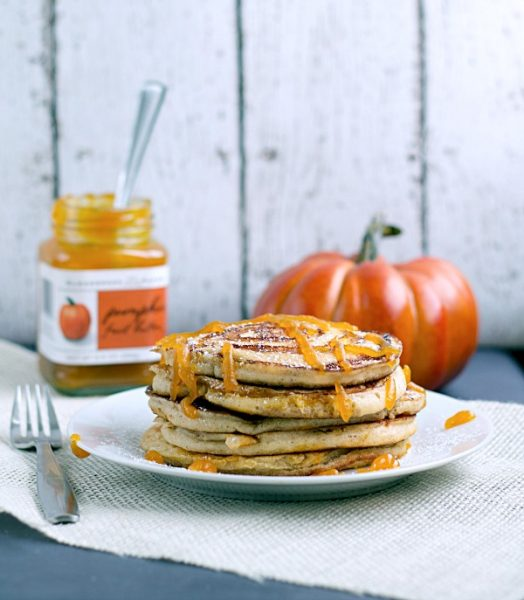 Pumpkin Swirl Pancakes with Pumpkin Butter Topping from www.thisgalcooks.com #pancakes #breakfast #pumpkin