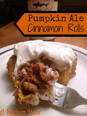Pumpkin Ale Brioche Cinnamon Rolls from A Kitchen Hoor